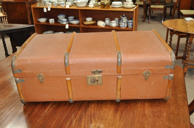 Item #K61 Old Wood Bound Trunk c.1930s