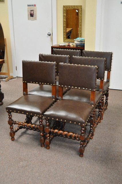 Item #BD12 Set of Six Belgian Oak Dining Chairs c.1920s