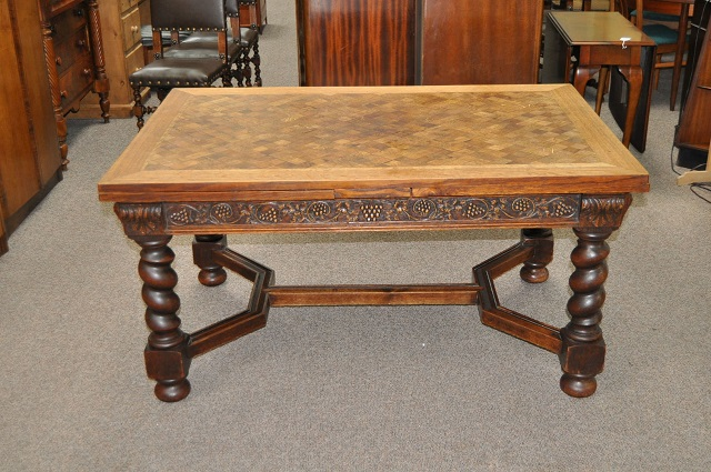 Item #DB14 Belgian Oak Extending Dining Table c.1920
