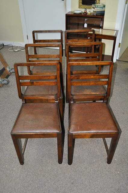 Item #L2025 Set of Six English Oak Art Deco Dining Chairs c.1920s