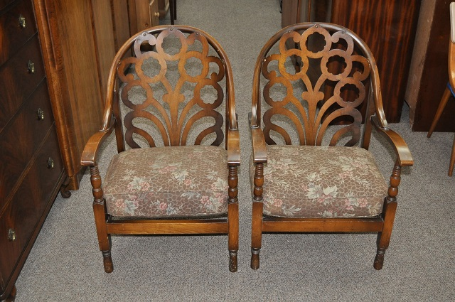 Item #L2099 Pair of Stencil Back Arm Chairs c.1940s