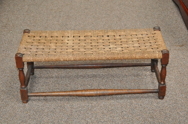Item #L2100 English Oak Woven Top Foot Stool c.1920
