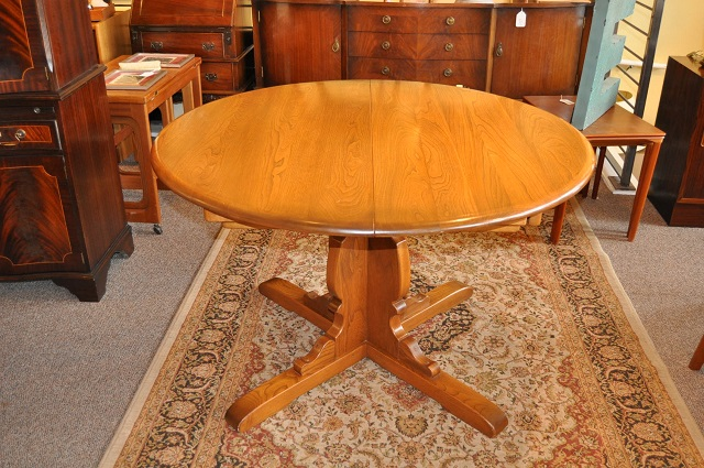 """Item #L2128 Vintage Round """"Ercol"""" Dining Table w/ Leaf c.1970s"""