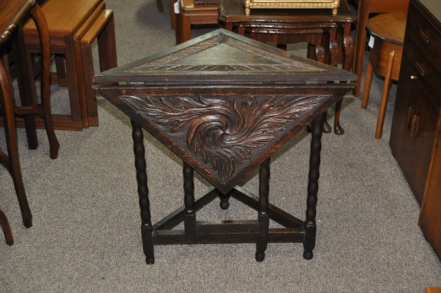Item #L768 Carved Oak Corner Drop Leaf Table c.1920