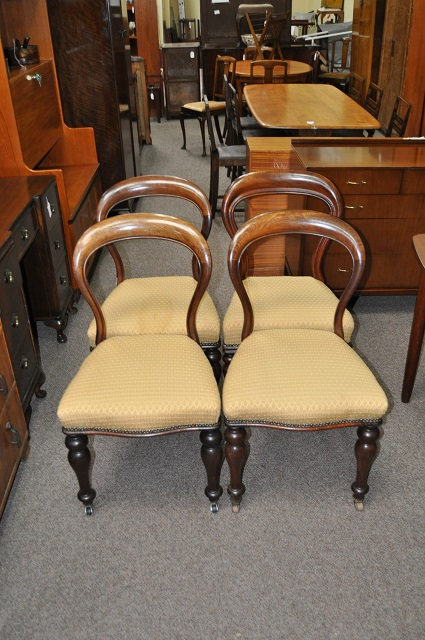 Item #L904 Four Victorian Spoon Back Dining Chairs c.1880