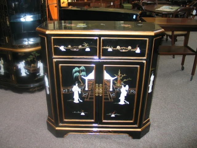 Item #AP5 Contemporary Black Lacquered Asian Style Console Cabinet