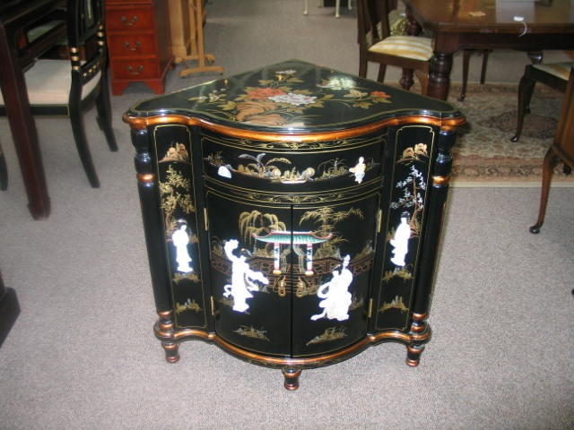 Item #AP6 Contemporary Black Lacquered Asian Corner Cabinet