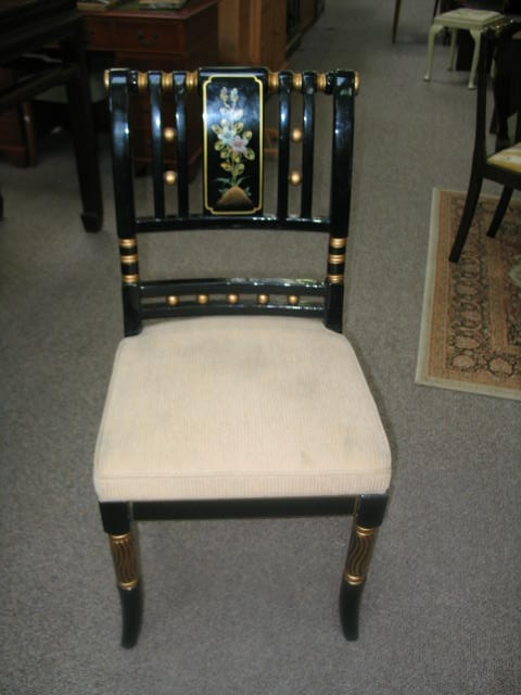 Item #AP7 Contemporary Black Lacquered Asian Style Chair
