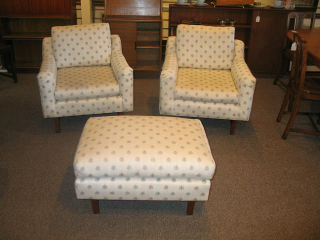 "HW67 3 Piece 1960s ""Dunbar"" 2 Club Chairs and Ottoman"