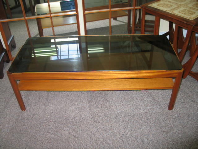 L766 Glass Top Mahogany Two Tier Coffee Table