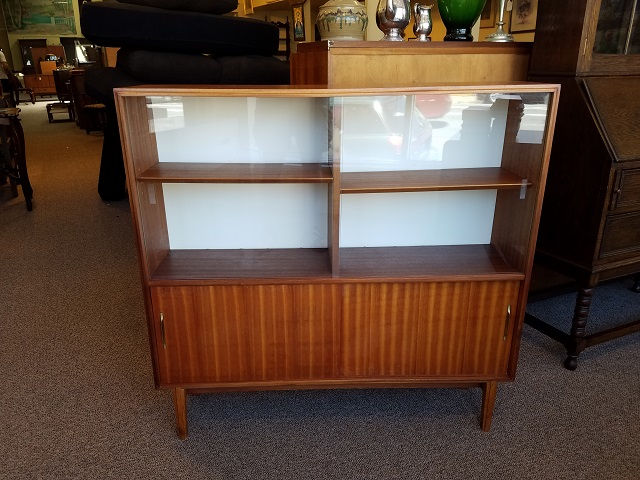 Item #M179 Teak Sliding Glass Door Bookcase / Cabinet c.1960s