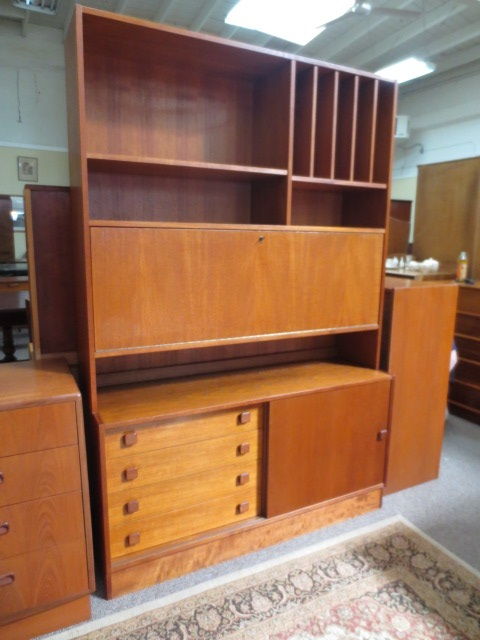 Item #M196 Vintage Teak Drop Down Bar / Cabinet c.1960s