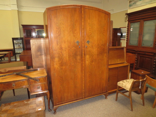 M307 Walnut Double Door Armoire UK Import c. 1940