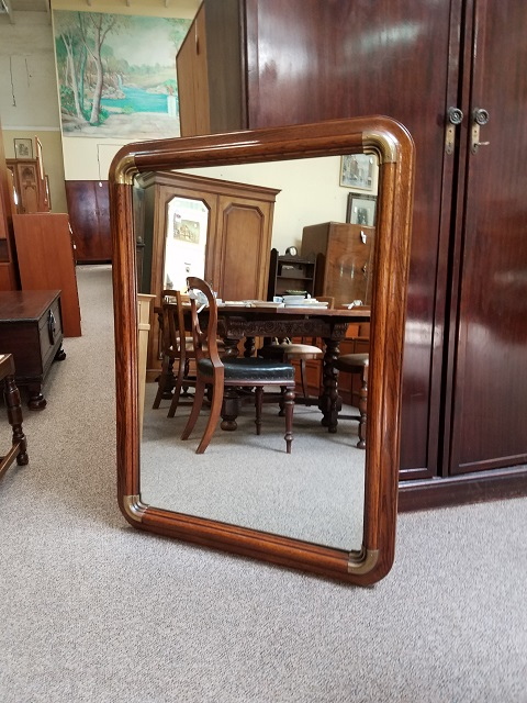 Item #PS7 Vintage American Oak Wall Mirror w/ Brass Mounts