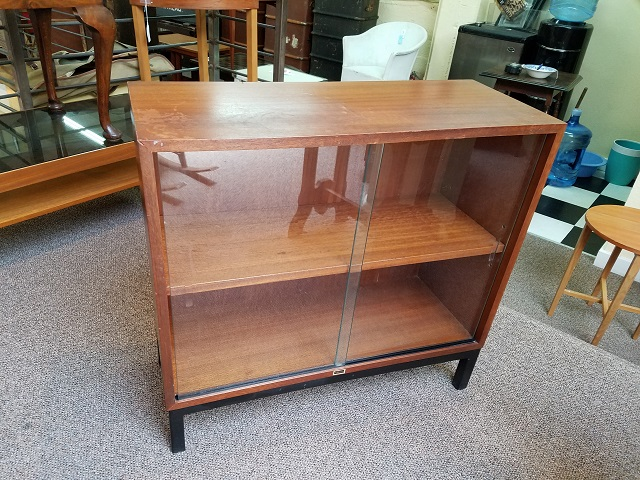 Item #M19 Vintage Teak Bookcase w/ Sliding Glass Doors c.1960s