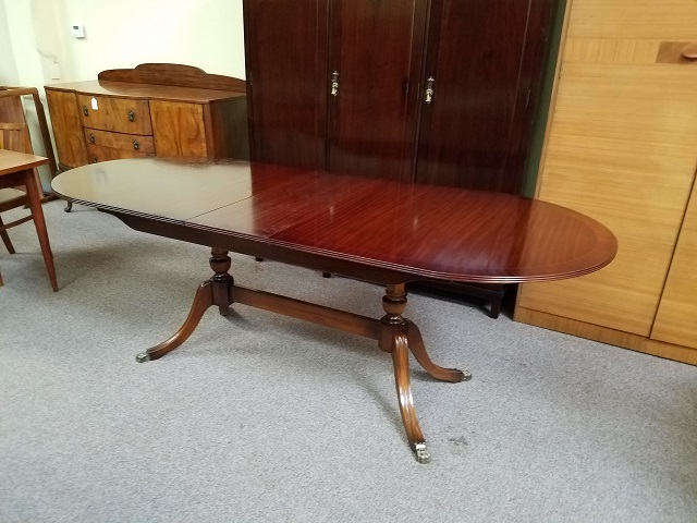 Item #M475 Inlaid Mahogany Regency Style Dining Table c.1950s
