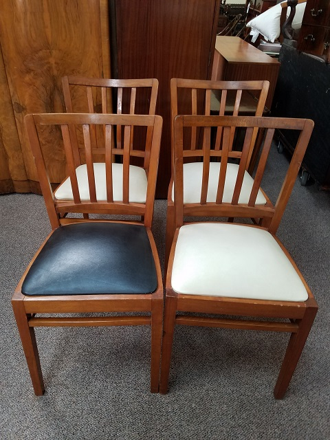 Item #M75 Set of Four Maple Frame Dining Chairs c.1950s