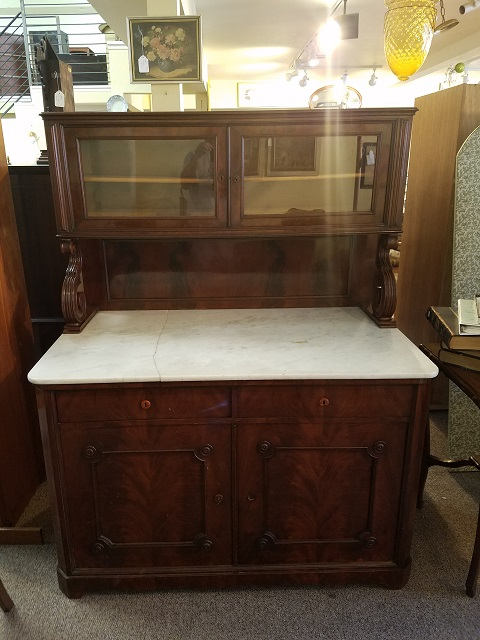 Item #EG6 American Victorian Mahogany Marble Top Cabinet c.1870s