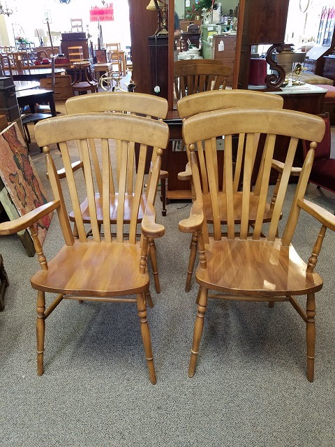 Item #F23 Set of Four Vintage Maple Arm Chairs c.1970