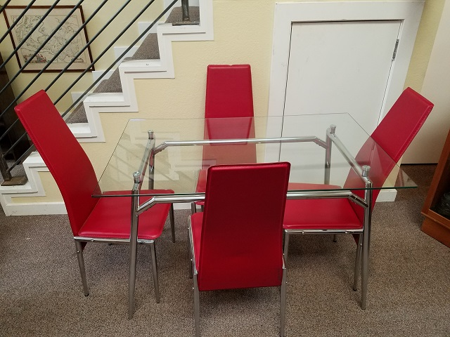 Item #F692 Contemporary Glass & Chrome Dining Table w/ Four Red Chairs
