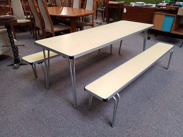 Item #F853 Vintage Aluminum Framed Folding Children's Table and Benches