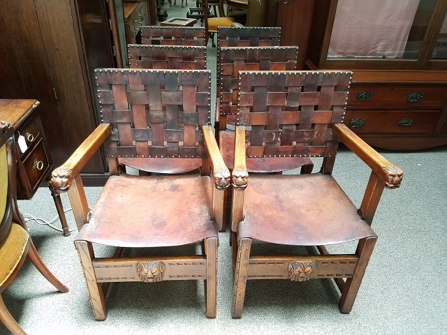 Item #F2995 Set of Six Carved English Oak & Leather Dining Chairs c.1900