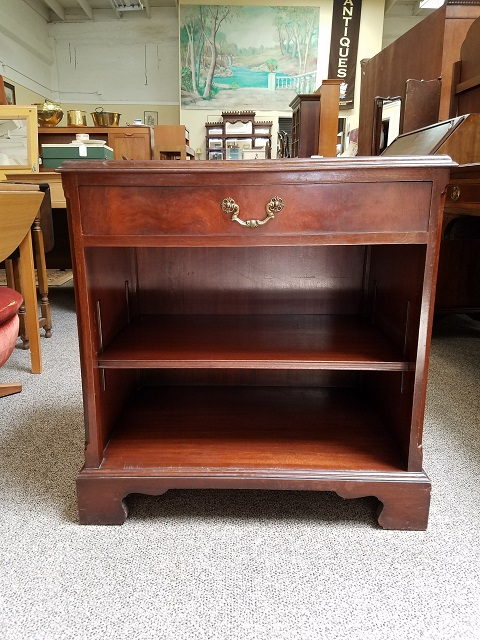 Item #F564 Mahogany Side Cabinet w/ Embossed Leather Top