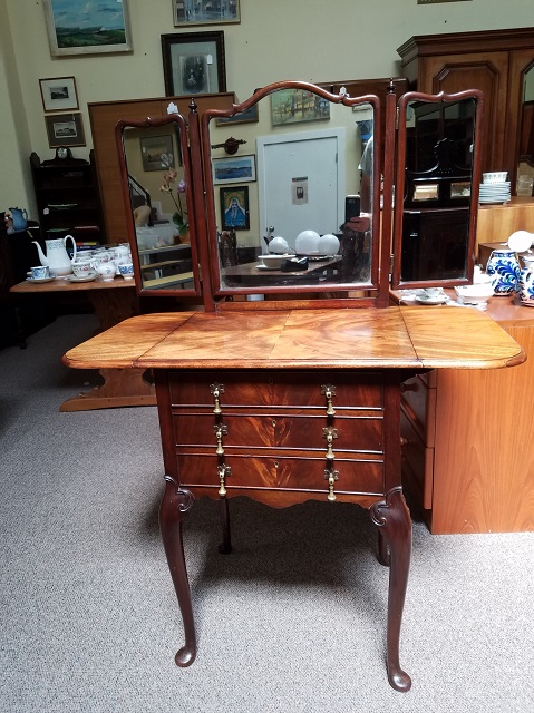Item #F290 Flame Mahogany Drop Leaf Dressing Chest c.1910