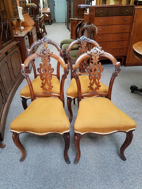 Item #F258 Set of Four English Walnut Dining Chairs c.1880