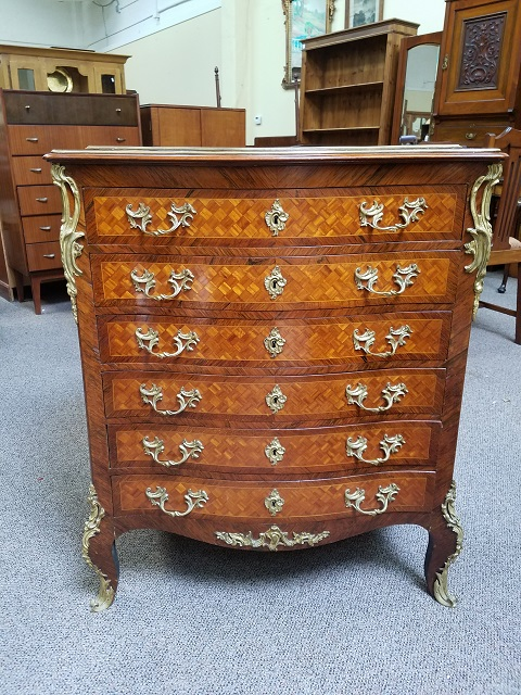 Item #F67 French Cross Banded Walnut Chest of Drawers c.1900