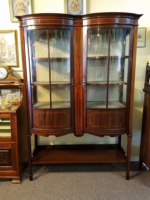 Item #F69 Inlaid Mahogany Bow Front Display Cabinet c.1910
