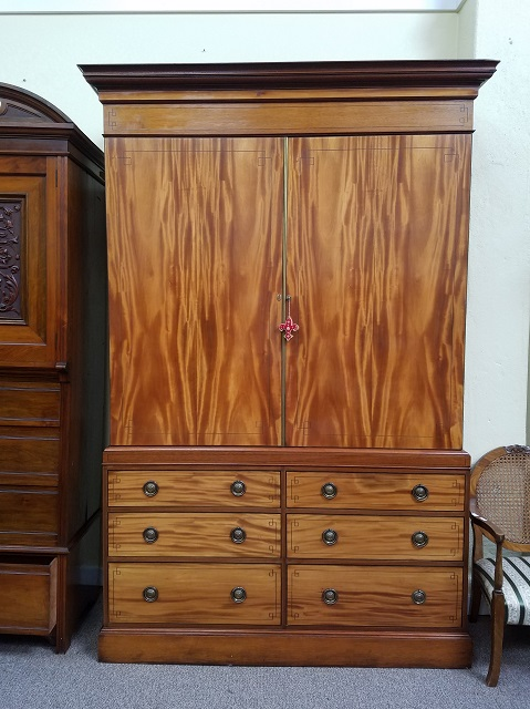 Item #F72 Large Inlaid Mahogany Compactum c.1910