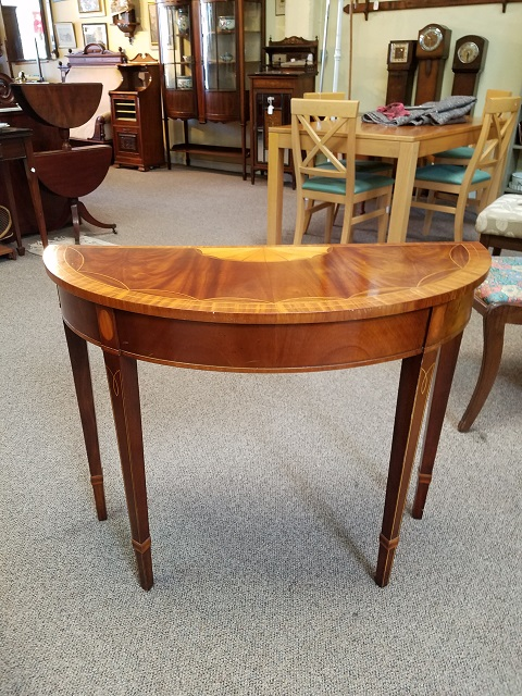 Item #F839 Inlaid Mahogany & Maple Half Moon Table c.1950s