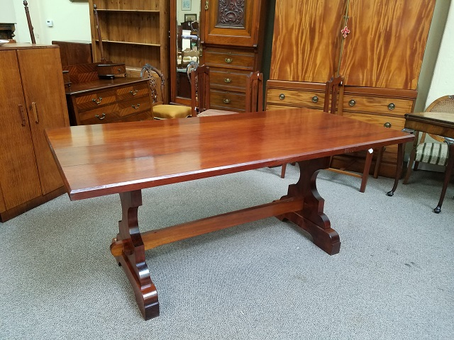 Item #F853 Solid Mahogany Trestle Base Dining Table c.1900