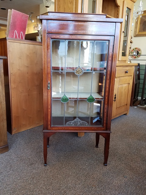 Item #F1666 Edwardian Display Cabinet w/ Inlay & Stained Glass c.1910