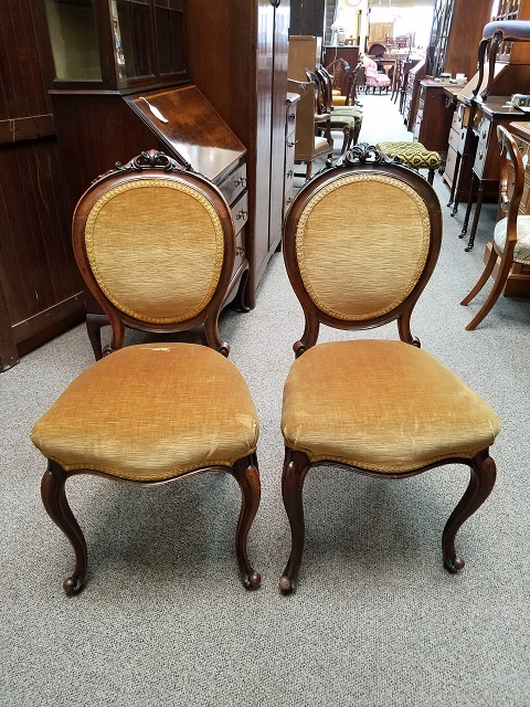 Item #F204 Pair of French Mahogany Side Chairs c.1880s