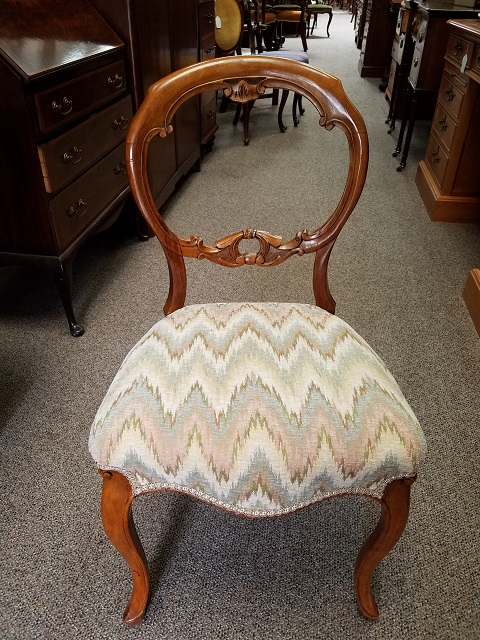 Item #F204b  Beautiful Hand Carved Walnut Parlor Chair c.1880
