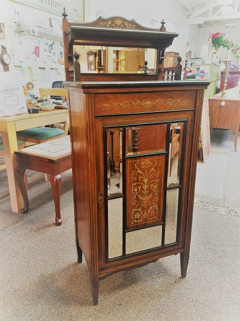 Item #F251 Rosewood Cabinet w/ Marquetry Inlay c.1890s