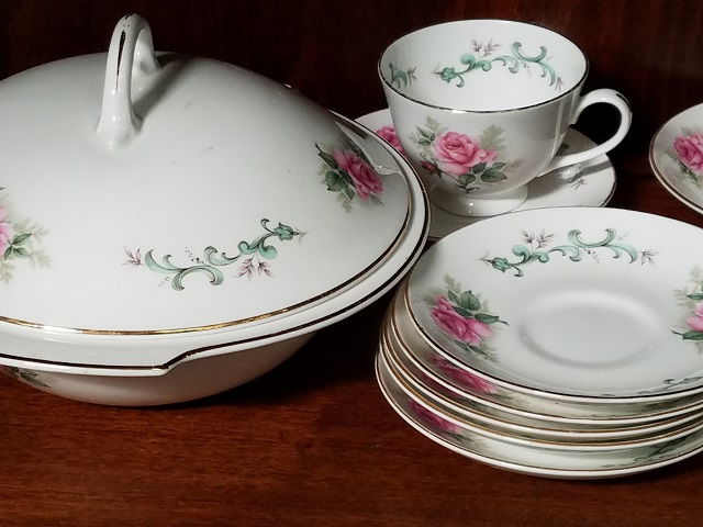 Item #F254 Collection of Bone China in a Rose Pattern