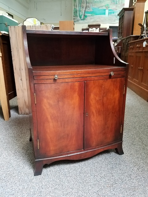 Item #F293 Mahogany Cabinet w/ Pull Out Leather Shelf c.1940s