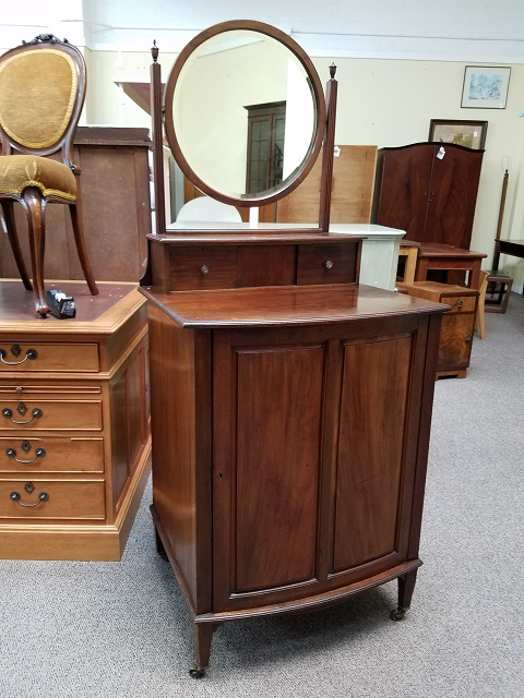 Item #F300 Mahogany Free Standing Vanity w/ Pull-Out Shelves c.1900