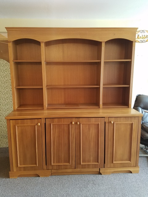 Item #F365 Vintage Teak Wall Unit w/ Bookcase