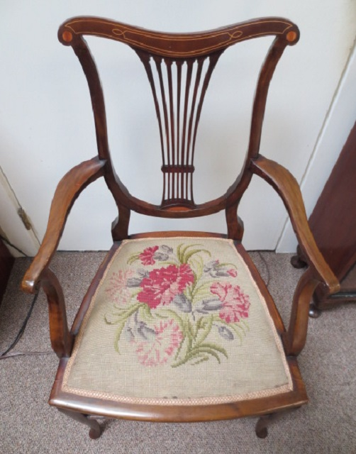 F 578 Edwardian Mahogany Chair – Inlaid