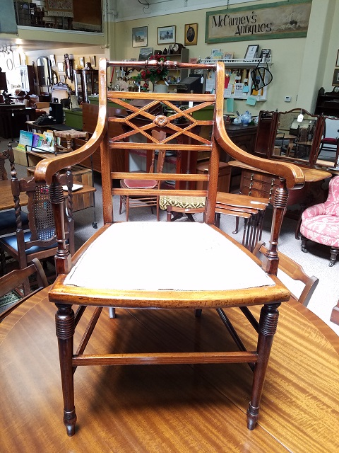 Item #F5786 Edwardian Inlaid Mahogany Chair c.1910