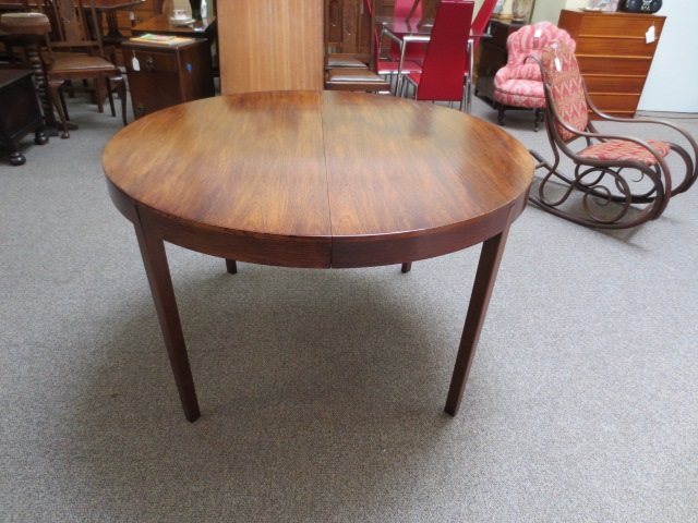 Item #DM2 Mid Modern Rosewood Extending Dining Table c.1960s to 1970s