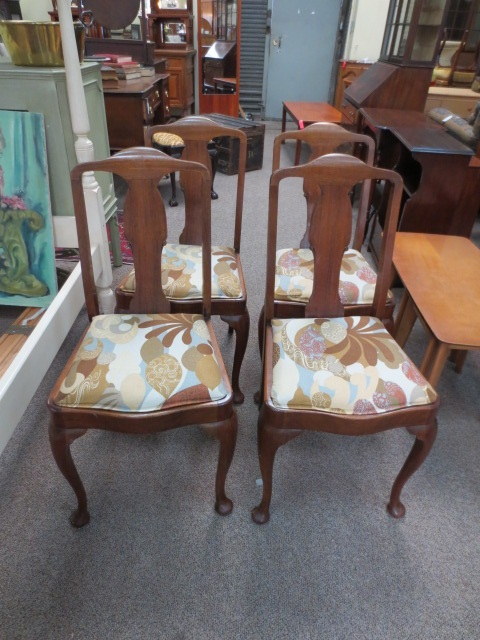 Item #DM3 Set of Four Vintage Mahogany Dining Chairs c.1950s