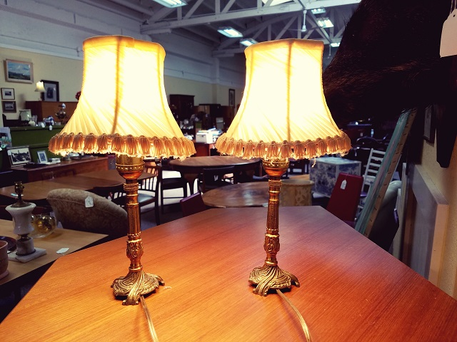 Item #F17 Pair of Miniature Brass Table Lamps w/ Shades c.1940s