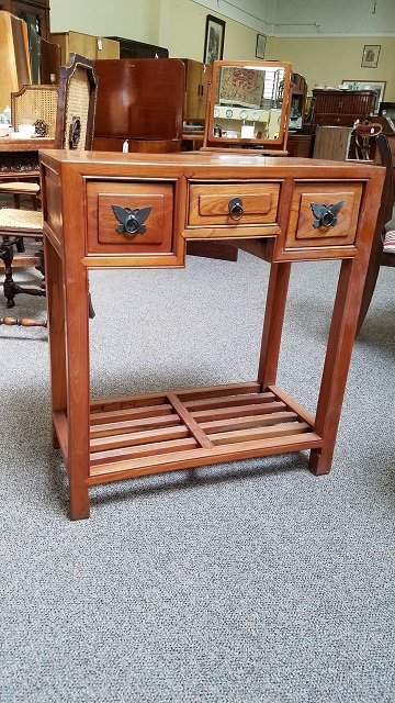 Item #F2154 Tropical Wood Side / Console Table w/ Drawers