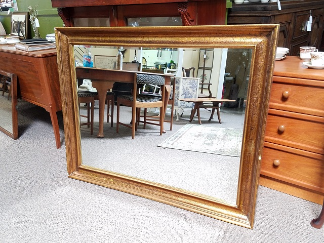 Item #F549 Vintage Gold Leaf Framed Bevel Edge Mirror