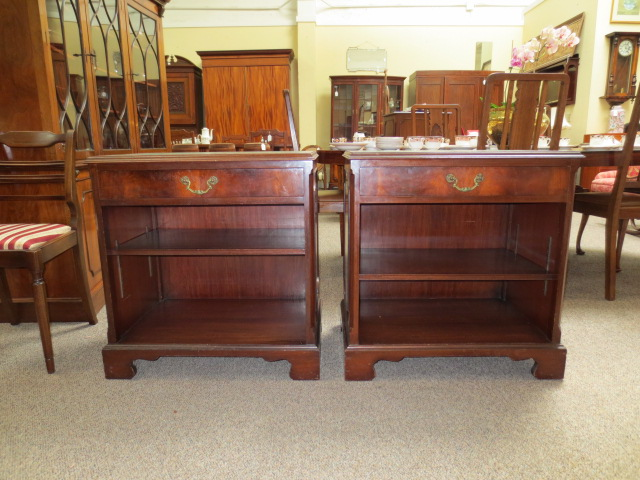F5046 Pair of Mahogany Side Cabinets w/ Shelf & Drawer